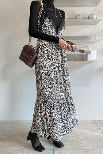 로켄즈폴라원피스_D4TP 탑 상의 드레스 30대여성쇼핑몰 20대여자쇼핑몰 키작은여자쇼핑몰 여성의류쇼핑몰 하이넥 긴팔 골지 롱 레이스 호피 레오파드 밴딩 아이보리투피스 베이지투피스 세트 셋업 투웨이 슬리브리스